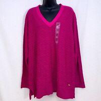TOMMY HILFIGER Women's XXL Pink Magenta Pullover Knit Shirt Top Long Sleeve New