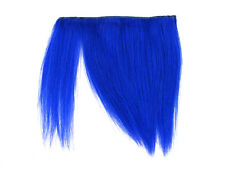 CLIP-IN HUMAN HAIR FRINGE BANGS CYBERLOX NEON BLUE UNCUT 8""
