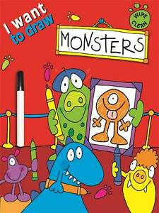 LEARN TO DRAW MONSTERS - NEW WIPE CLEAN BOOK WITH PEN
