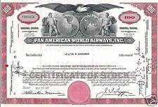 Old 1960's Pan American World Airways 100 Shares Stock