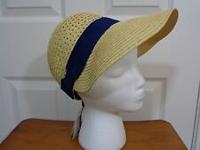 August Hat Company Women's Straw Navy Ribbon Framer Hat NWT