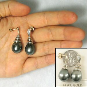 14k Yellow Gold Diamonds Genuine Tahitian Pearl Dangle Earrings TPJ