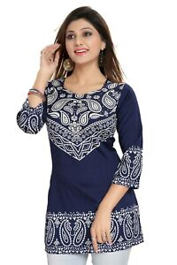 Women Indian Kurti Tunic Kurta Floral Printed Casual Shirt Dress MI511 BLUE