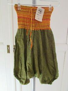 Sarouel smocks baba cool enfant L = 5/6 ans coton vert mousse jaune Népal NEUF