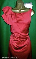 New MONSOON Soft Rust Red TANYA Ruched Satin Cocktail Party Knee Dress Uk 12 14