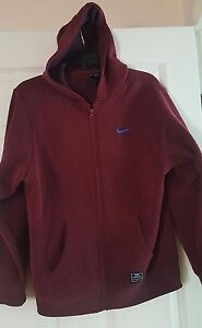 NIKE Hoodie Jacket UNISEX Burgundy Zip Front XL 13-15years