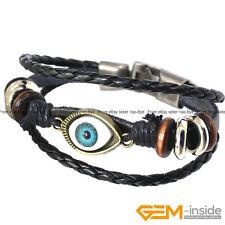 """Turkey Evil Eye Pattern Style Energy Healing Leather Bracelet Jewelry Gift 7"""""""