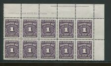 1935 Canada Postage Due Stamps #J15-J20 Mint Never Hinged VF Blocks of 10