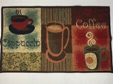 """Coffee Lover Cappuccion Slip Resistant Rubber Back Runner Rug 18"""" x 30"""""""