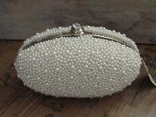 Tasche Luxus Glamour Clutch Abendtasche Brauttasche Perlen Oval Fb Silber Weiß