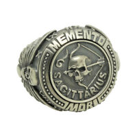 Sagittarius Skull Zodiac Biker mens Masonic Sterling silver Ring Memento Mori