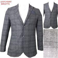 Giacca blazer da uomo elegante casual lana a quadri slim fit grigia fantasia 50