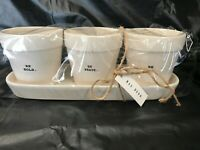 Rae Dunn Jars/Pots/Planters With Tray BE BOLD BE BRAVE BE YOU NEW