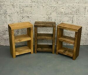 Rustic Side Table, Bedside Table Storage Unit Shelf Reclaimed Solid Wood Chunky