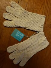 Vintage White Cotton Italy Crochet Gloves Medium Handmade Pearl Grandoe womens