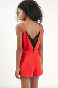 TOPSHOP RED AND BLACK LACE BACK STRAPPY PLAYSUIT BLOG.FAVORITE SIZES 6-12