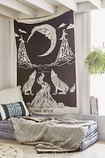 Home Decor Mandala Tapestry Wall Hanging Hippie Indian Crying wolf and The Moon