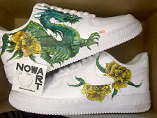New Customised Nike Air Force 1 White Low Trainers Size 42/43/44 Dragon Art
