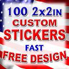 Внешний вид - 100 2x2 Custom Printed Full Color Outdoor Vinyl Car Bumper Sticker Decal Die Cut