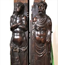 Pair caryatid wood carving corbel bracket Antique french architectural salvage