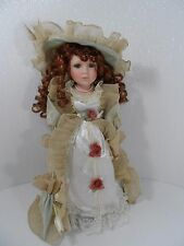 "Beautiful Brunette Porcelain Doll w/Green/Tan Lace Dress w/Hat 16"" Tall - Vgc"