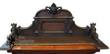 Antique Victorian Carved Walnut Backsplash Finial Cupboard Dark Primitive Rustic