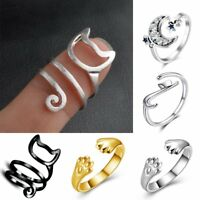 Cat Moon Paw Gold Silver Charm Adjustable Finger Knuckle Rings Jewelry Chic Gift