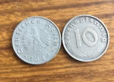 1944 German Nazi WWII 10 Reichspfennig Coin-Eagle w/ Swastika
