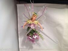 American Silkflower Hanging Flower Mini Angel Fairy Purple, Hand Painted Face