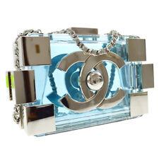 BOY CHANEL Chain Shoulder Bag Purse Light Blue Acrylic 19425315 Auth NR11746b