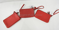 Coach F66505 Double Zip Leather Small Wallet/Wristlet in Silver/Red or Gold/Red