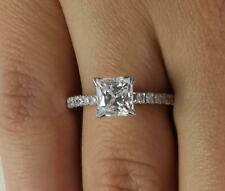 1 Ct Cathedral Pave Princess Cut Diamond Engagement Ring I1 E White Gold 18k