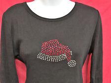 Christmas womens rhinestone shirt bling Santa Hat Sample Sale Clearance Small