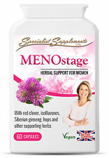 Menostage: Red Clover Wild Yam Sage Leaf Vitamin B6 Siberian Ginseng 60 Capsules