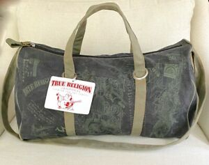 True Religion CHARCOAL GRAY GREEN CANVAS ZIP TOP OVERNIGHT BAG GYM TRAVEL DUFFLE