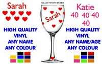 Name Glass Personalised Name Glass Stickers - DIY Glasses - NAME, AGE, HEARTS