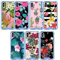 Case for Apple iPhone XR (2018), blue Bumper TPU Flexible Slim Floral Design