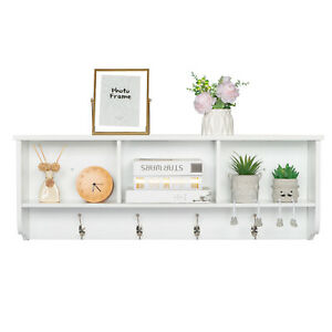 Organizer Wall Mounted White Coat Rack with 3 Cubby and 4 Hook Home