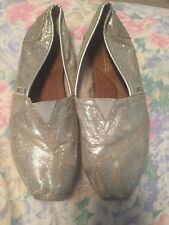 Toms Women Shoes Size 8.5 Gold Glitter Slip On Flats Loafers - Canvas Classic