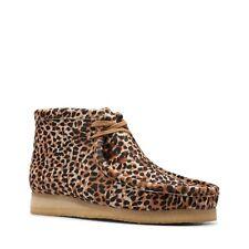 Новые мужские оригинальные CLARKS WALLABEE животных печать LEOPARD Гепард как коричневые туфли