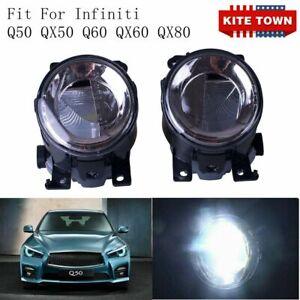 Pair LED Front Fog Light Lamp RH LR For Infiniti Q50 QX50 Q60 QX60 Q70L QX80 US