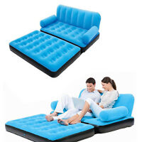 Multi Inflatable Pull-Out Sofa Couch Full Double Air Bed Mattress Sleeper Blue
