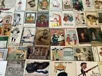 BIG LOT OF OLD ANTIQUE~ COMIC HUMOR funny ~POSTCARDS-1900's-All In Sleeves--b38