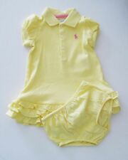 Ralph Lauren Baby Girls Polo Dress & Bloomer Set Course Yellow Sz 9M - NWT
