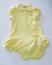 Ralph Lauren Baby Girls Polo Dress & Bloomer Set Course Yellow Sz 9M - NWT
