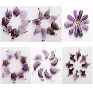25pcs Charms Natural Quartz Crystal Amethyst Stone Necklace Pendant for jewelry