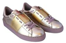 2016 VALENTINO TONAL GOLD METALLIC LEATHER ROCKSTUD SNEAKERS SHOES TRAINERS 37