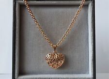 """18k Gold Plated Heart Pendant & Chain 24""""."""