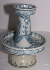 Old Chinese Blue and White Porcelain Candle Holder