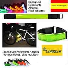 BANDA LED REFLECTANTE AMARILLA AJUSTABLE TRES POSICIONES PILAS INCLUIDAS